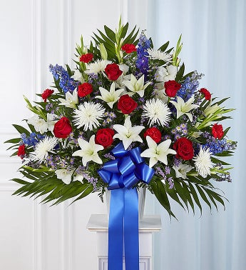 Heartfelt Sympathies™ Red, White and Blue Standing Basket