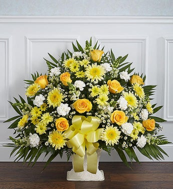 Heartfelt Tribute Yellow Floor Basket Arrangement
