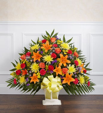 Heartfelt Tribute Bright Floor Basket Arrangement