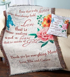 Personalized Mother's Day Throw and Pillow Set