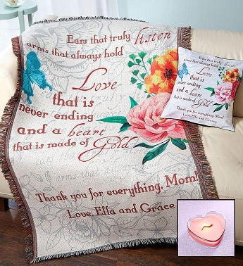 Personalized Mothers Day Throw Pillow  Candle Set