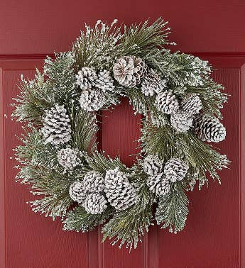 Frosted Winter White Wreath - 24