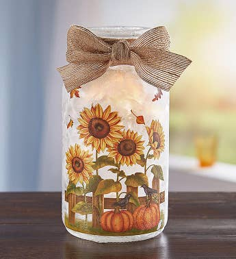 Lighted Decorative Sunflower Jar