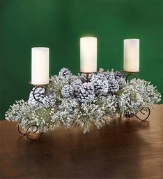 Winter White Centerpiece and LED Candles - 30