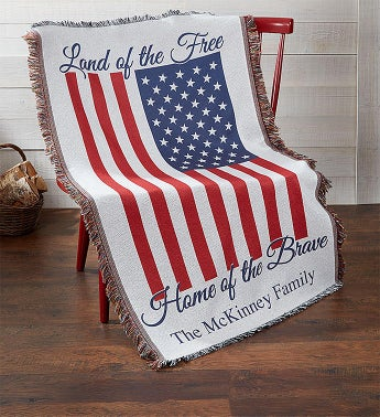 Personalized Home of the Brave Throw Blanket