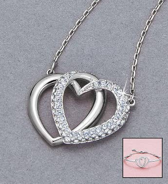 Swarovski Interlocking Hearts Pendant  Bracelet