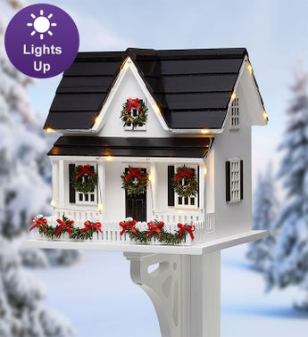 Home For The Holidays Lighted Birdhouse