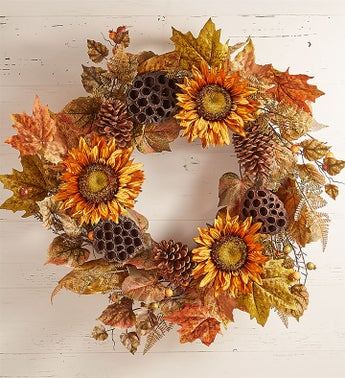 Sunflower Lotus Pod Centerpiece  Wreath-24