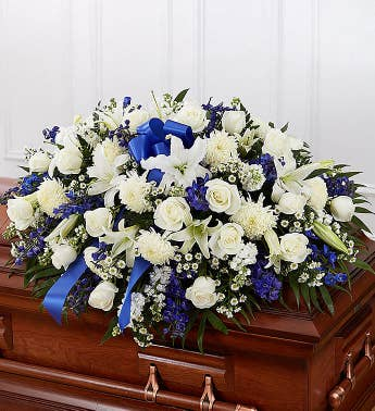Blue  White Mixed Half Casket Cover