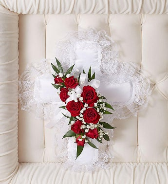 Red  White Satin Cross Casket Pillow