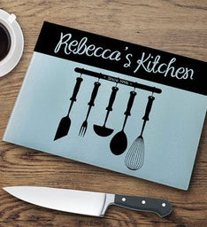 Personalized Utensils Glass Cutting Board