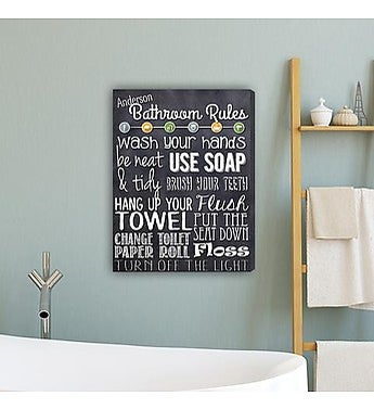 Personalized Bathroom Rules Canvas Print