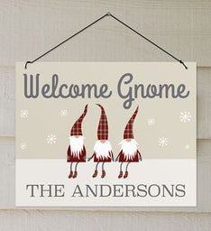 Personalized Welcome Gnome Wall Sign