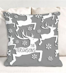 Personalized Reindeer Throw Pillow
