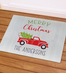 Personalized Merry Christmas Red Truck Doormat