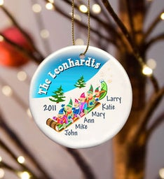 Personalized Elves Family Ceramic Ornament