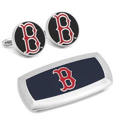 Boston Red Sox Cufflinks and Cushion Money Clip