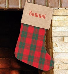 Personalized Embroidered Holiday Plaid Stocking