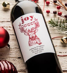 Reindeer Joy Personalized Labeled Wine