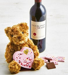 Godiva 6pc Heart Box, Plush Bear, & Cabernet Wine