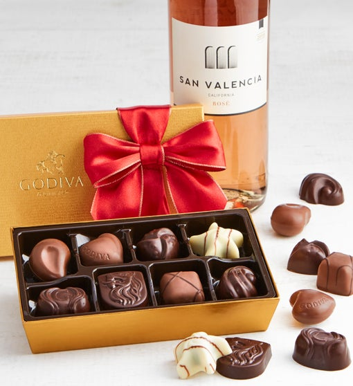 Godiva 8pc Ballotin with Rosé Wine