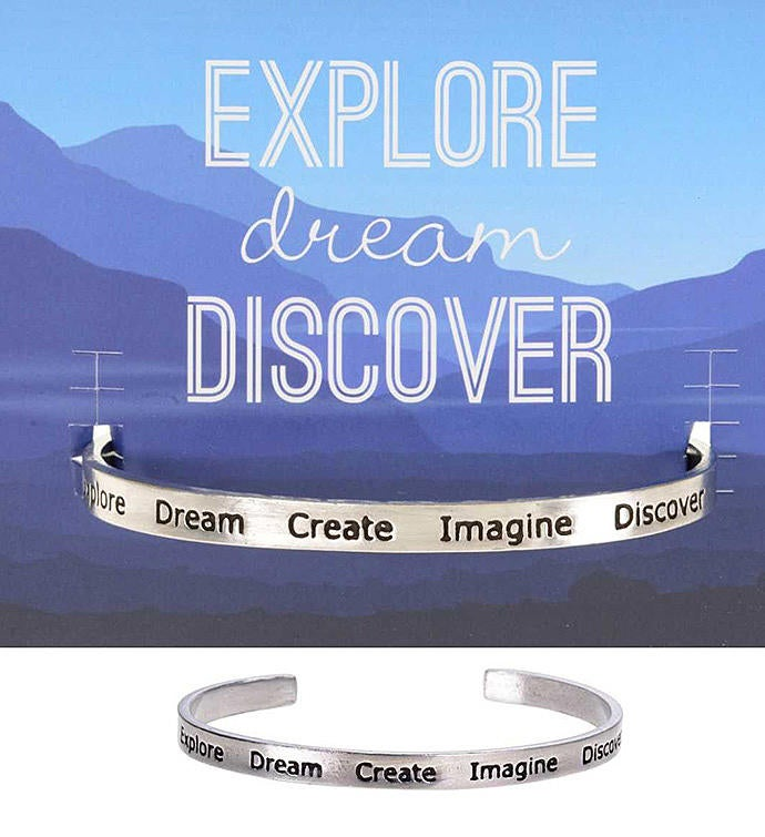 Explore-Dream-Create Quotable Cuff Bracelet