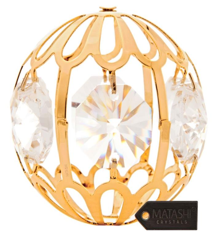 Gold Plated Crystal Ball Ornament