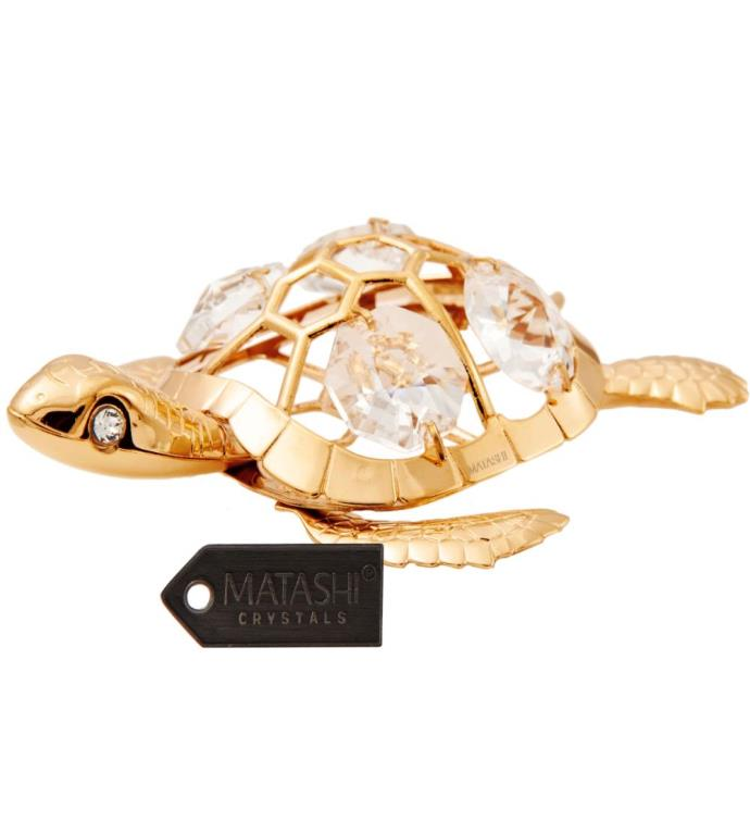 Gold Plated Crystal Studded Sea Turtle Ornament
