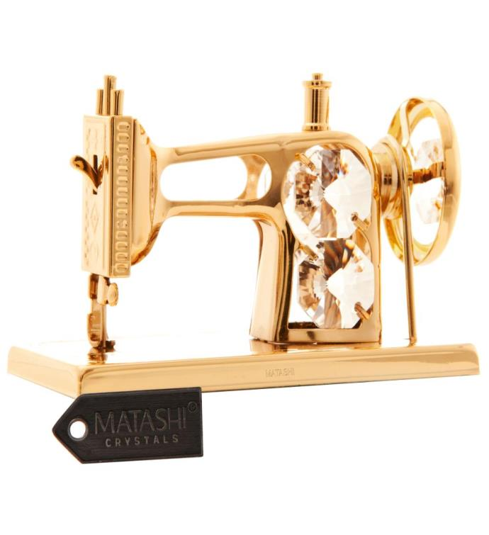 Gold Plated Crystal Sewing Machine Ornament