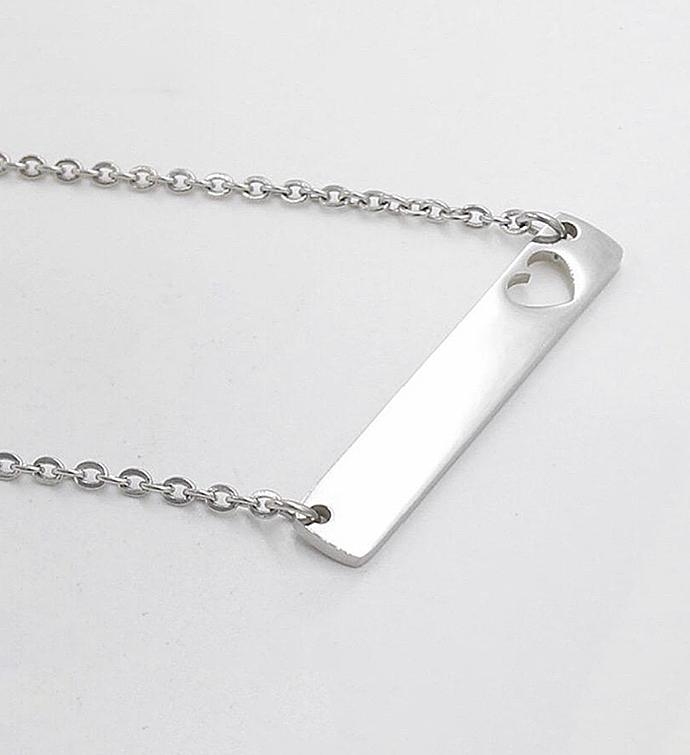 Silver Bar Necklace with Cut Out Heart