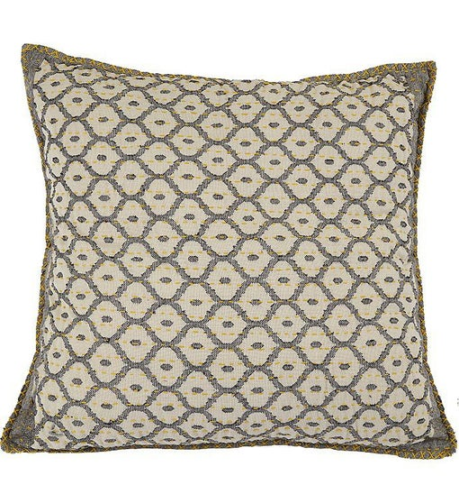 Artisan Hand Loomed Cotton Square Pillow - Gray with Yellow Stitching - 24