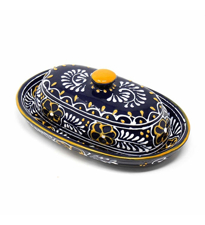 Global Crafts Encantada Handmade Pottery Butter Dish Blue