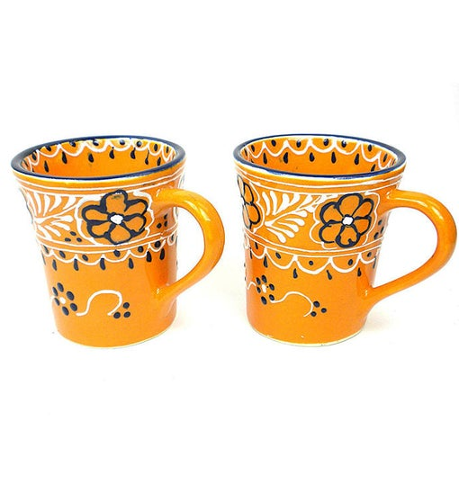 Global Crafts Encantada Handmade Pottery Set of 2 Mugs, Mango