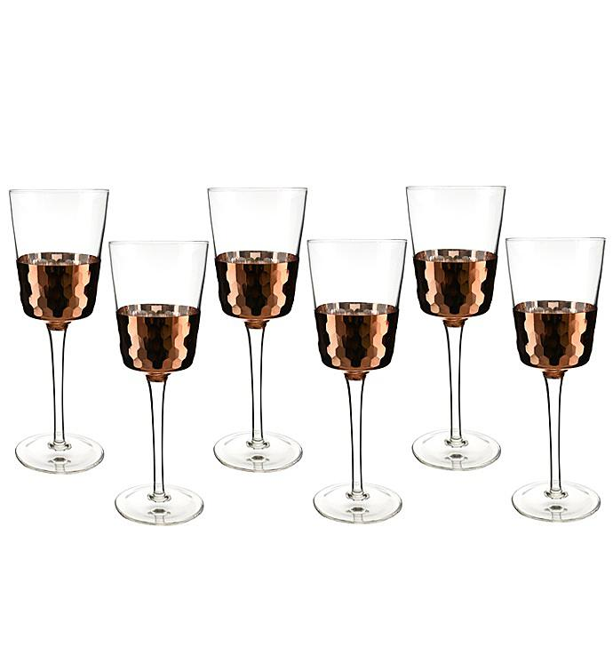 Copper Finish Glass Set - Wine