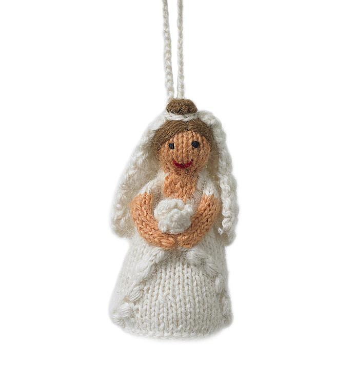 Hand Knit Bride Wedding Ornament