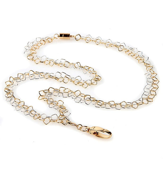 Rapunzel Silver And Gold Chain Fashion Id Necklace Lanyard