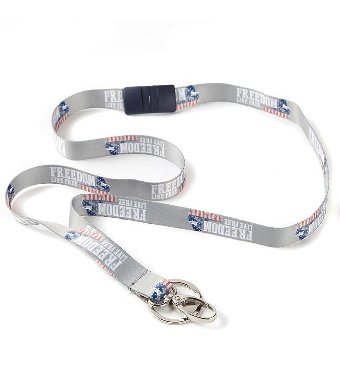 Live Free Ribbon Lanyard With Hook And Key Ring