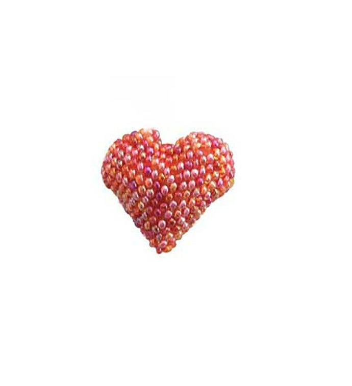 Beaded Heart Pin - Pink