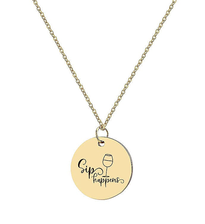 Sip Happens Necklace Pendant Mom