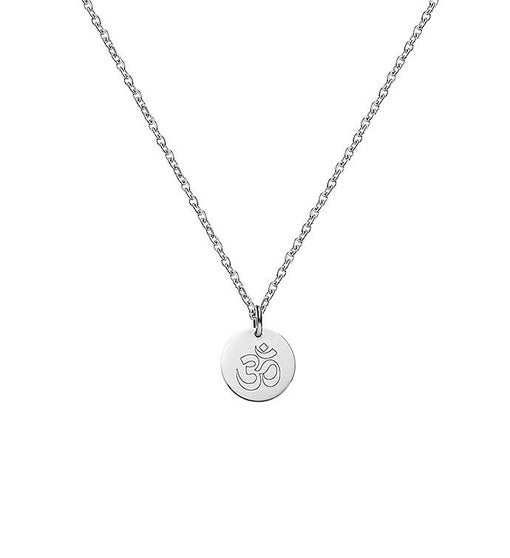 Mini Round Om Style Engraved Pendant Necklace