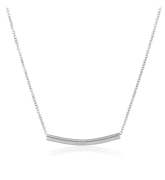Plated Dainty Cylinder Bar Stainless Steel Necklace