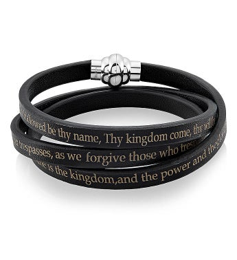 Stainless Steel & Leather Lord's Prayer Wrap Bracelet