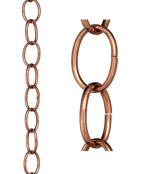 Small Single Link Pure Copper 8.5 Ft. Rain Chain