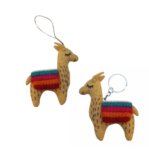 Hand Crafted Felted Llama Key chain & Ornament Set