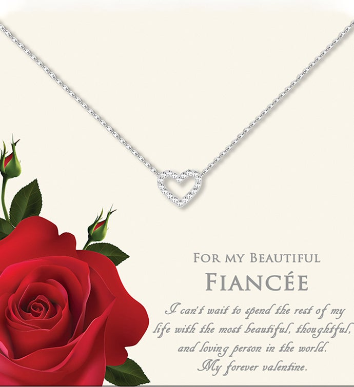 34For My Beautiful Fiancee34 Mini Heart Valentine39s Day Necklace