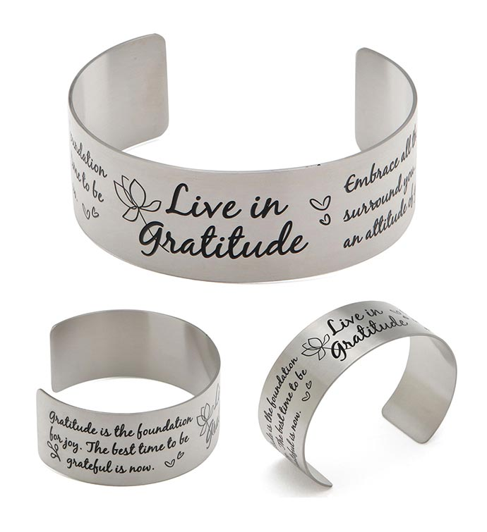 Vera Viva Live In Gratitude Stainless Steel Adjustable Inspirational Cuff Bracelet