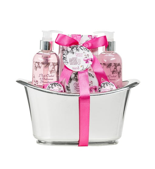 Pink Orchids Spa Holiday Basket