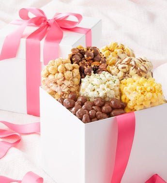 White Sampler Box with Pink Ribbon