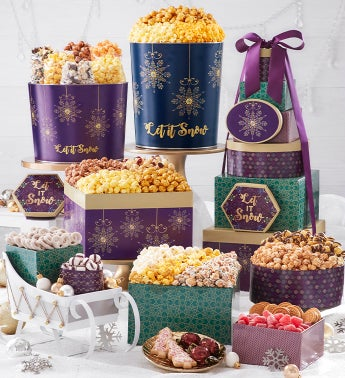 Let It Snow 8-Tier Gift Tower with 2-Gallon  3 12-Gallon Popcorn Tins
