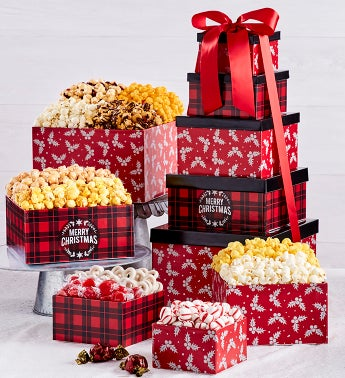 Very Merry Plaid Merry Christmas 5-Tier Tower